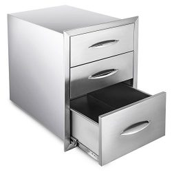 Happybuy Outdoor kitchen drawer 18″x15″ Stainless steel BBQ Island Drawer storage wi ...