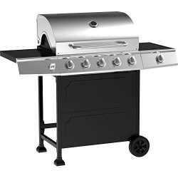5-Burner Stainless Steel Gas Barbeque Grill Primary Cooking Area: 491 Sq In Secondary Cooking Ar ...