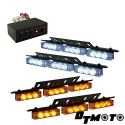 DT MOTO™ Amber White 36x LED Tow Truck Service Vehicle Grill Dash Deck Visor Strobe Warning Ligh ...