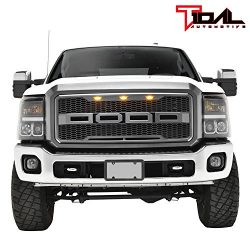 Tidal Raptor Style Upper Replacement Grille w/ LED Amber Lighting for 11-16 Ford F250 F350 Super ...