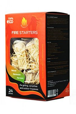 Fire Starters ( firelighters )100% All Natural – Super Fast Lighting, 24 pieces, best for  ...