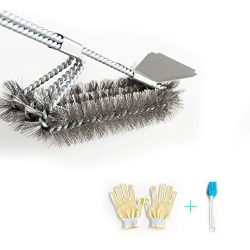 Grill Brush and Scraper 18″ Stainless Steel BBQ Cleaner – Triple Scrubber Safe Wire  ...