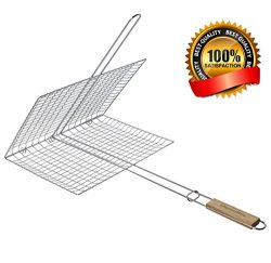 Extra Large Grilling Surface – Extra long Wood Handle – Stainless Steel BBQ Grilling ...