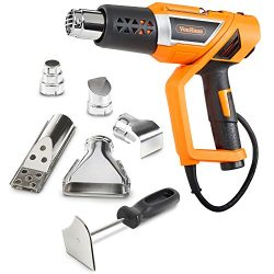 VonHaus 1500W Heat Gun Variable Temperature 122℉~1112℉ (50℃~600℃) with Adjustable Handle and Fiv ...