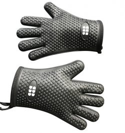 Heat Resistant BBQ Cooking Gloves – Oven Mitts By SBDW. Insulated Silicone With Protective ...