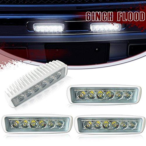 DakRide Driving Pods DRL Straight Flood Fog Work Light 6″ 4pcs Deck Spreader Lights Revers ...