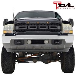 Tidal Raptor Style Upper Replacement Grille w/ LED Amber Lighting for 99-04 Ford F250 F350 Super ...