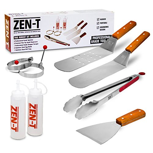 Zen-t 8 Piece Grill Griddle BBQ Tool Kit – Heavy Duty Professional Grade Stainless Steel B ...