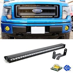 iJDMTOY Complete Center Grill Hidden Mount 30″ 150W High Power LED Light Bar System w/ Wir ...