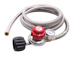 KIBOW 0~20PSI High Pressure Adjustable Propane Regulator w/8FT SS Braided Hose-Type1 (QCC1) and  ...