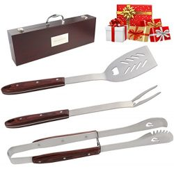 ROMANTICIST Heavy Duty BBQ Tools Set – 4PC Grill Tools Gift Kit with Extra Long Color Wood ...