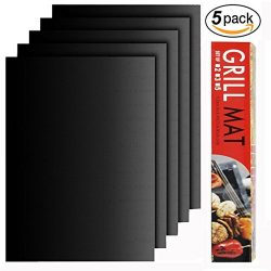 BBQ Grill Mat Set of 5 – Heavy Duty 100% Non-Stick BBQ Grill Mats, BBQ Grill & Baking ...