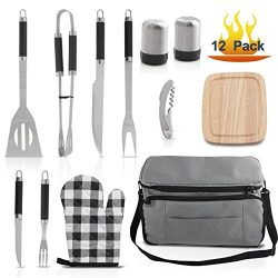 Grilljoy BBQ Tool set with 15 can Gray Insulated Cooler Bag – Stainless Steel Barbecue Gri ...