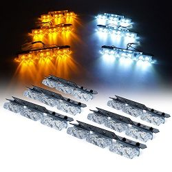 Xprite White Amber 36 LED Patrol Series Emergency Vehicle Strobe Warning Lights/Lightbars For De ...