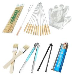 Outdoor BBQ Accessories Bamboo Stick, Disposable Gloves, Grilling Fork, Roasted Needle, brush, C ...