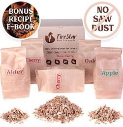 BBQ Smoking Chips – Wood Chips variety pack: alder, oak, apple, cherry – 100% Natura ...