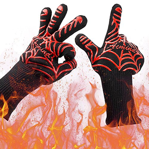 Acmind BBQ Grill Gloves, 932°F Heat Resistant Grilling Gloves, Barbecue Gloves for Smoker, 13 ...