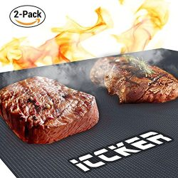 ICCKER BBQ Grill Mat – Non-stick Barbecue Mat Heavy Duty 0.39mm Extra Thick 600 Degree Gri ...