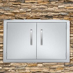 Seeutek BBQ Access Door 28W x 19H Inch Stainless Steel Double Wall Construction Vertical Door wi ...