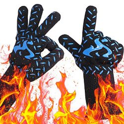NEWBEA BBQ Grill Gloves,932°F Heat Resistant Extreme Grilling Kitchen Gloves for Men,Women Firep ...