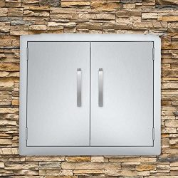 Seeutek BBQ Access Door 24W x 24H Inch Stainless Steel Double Wall Construction Vertical Door wi ...