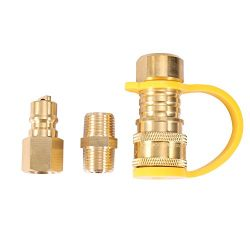 Kbrotech Propane/Natural Gas Quick Connect Fitting Adapter – 3/8 inch Male Pipe Thread wit ...