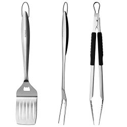 ICCKER BBQ grill set – 3 Piece 18 inch Grilling Utensils Set Heavy Duty Stainless-Steel Sp ...