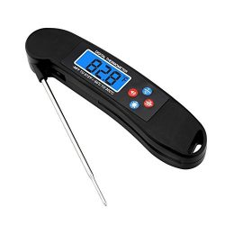 Digital LED Backlight Cooking thermometer Instant Read Food Thermometer With Foldable Stainless  ...