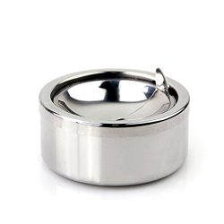 Kinger_Home Stainless Steel Classic Windproof Ashtray with Lid, Cigarette Ashtray for Indoor or  ...