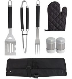Grilljoy 7PCS BBQ Grill Tools Set, Heavy Duty Stainless Steel Accessories with Apron Storage Bag ...