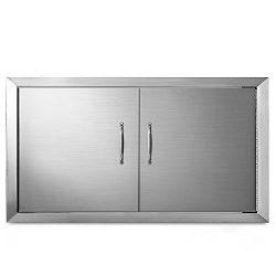 Happybuy 34 x 19 Inch Double Access Door Stainless Steel BBQ Door Flush Mount for outdoor Kitche ...