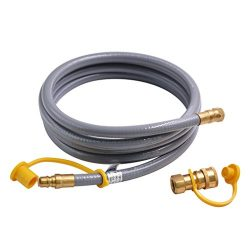 onlyfire 12 Feet Natural Gas and Propane Hose Assembly with 3/8-Inch Male Flare Quick Connect fo ...