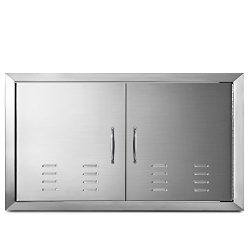Happybuy BBQ Island Door 36 x 21 Beveled Frame Vented Double Access Door Stainless Stainless Ste ...