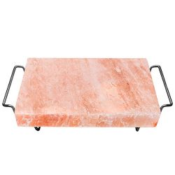 Majestic Pure Himalayan Salt Block – 100% Pure Pink Himalayan Salt, with Stainless Steel H ...