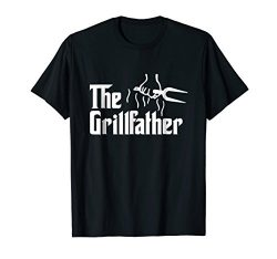 Mens The Grillfather Funny BBQ Dad BBQ Grill Dad Grilling T Shirt 2XL Black