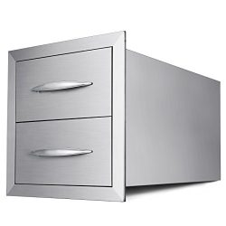 Mophorn Outdoor kitchen drawer 18″x15″ Stainless steel BBQ Island Drawer storage wit ...