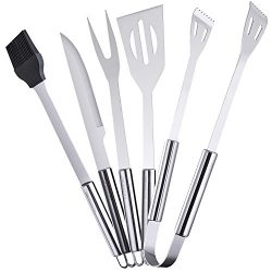 Ordekcity BBQ Grill Tools Set, 5-Piece Barbecue Accessories Stainless Steel Grilling Utensils, C ...