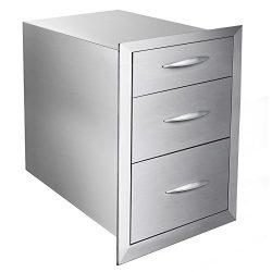 Mophorn Outdoor kitchen drawer 18″x15″ Stainless steel BBQ Island Drawer storage wit ...