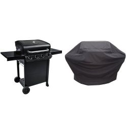 Char-Broil Performance 475 4-Burner Cart Gas Grill- Black with Performance Grill Cover, 3-4 Burn ...