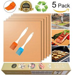 Gold Grill Mat and Bake Mat Set of 5, 100% Non Stick BBQ Grill & Baking Mats -FDA Approved,  ...