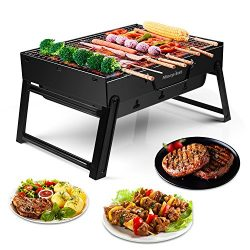 Morpilot Barbecue Charcoal Grill Folding Portable Lightweight BBQ Tools for Outdoor Cooking Picn ...
