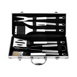 Earthfriendly 6-Piece Stainless Steel Grill Tools Set with Barbecue Accessories – Stainles ...