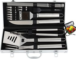 ROMANTICIST 20pc Heavy Duty BBQ Grill Tool Set with Bonus Cooler Bag for Men Dad in Gift Box  ...