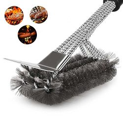 Cook Time BBQ Grill Brush and Scraper 18'' Bristle Free Safe Stainless Steel Woven Wire Barbecue ...