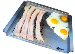 Cave Tools BBQ Grill Pan Mat – Stainless Steel Grilling Tray Grid For Cooking Meat & G ...