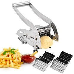 French Fry Cutter, CUGLB Homemade Potato Chip Chipper with 2 Thickness Adjustable Stainless Stee ...