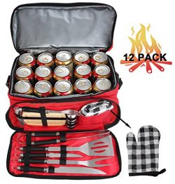 POLIGO 12PCS Stainless Steel BBQ Grill Tools Set With Red Insulated Waterproof Storage Cooler Ba ...