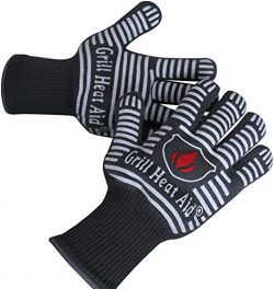 Extreme Heat Resistant Grill Gloves | Premium Insulated & Silicone Lined Aramid Fiber Mitts  ...