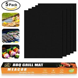 Copper Grill Mat Set of 5, HIPPIH Non-stick BBQ Mats, Reusable & Easy Clean Baking Sheets fo ...