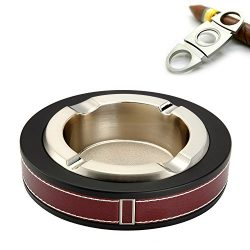 Cigar/Cigarette Ashtray,Stainless steel Leather Creative Fashion Tabletop Cigars Ashtray For Ind ...